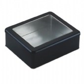 rectangular chocolate tin box with PVC window