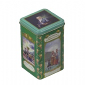 Vintage square tea tin box