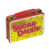 hinged rectangular candy tin box with handle