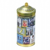 round wine tin box with cone shaped lid