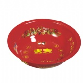 red metal tray
