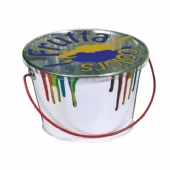 printed tin bucket with clear lid