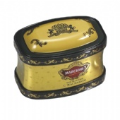 rectangular tea tin box with domed lid