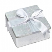 Christmas Holiday Plain Square Tin Box For Candy Chocolate Cookie