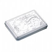 Hinged Rectangular Tin Box makeup tin holder tin box with embossed logo