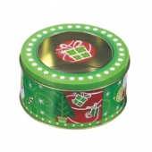 Premium Christmas Cake Cookie Tin Box With PET Window CMYK Printing OEM