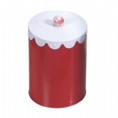 Luxury Biscuit Round Biscuit Tin With handlebar Lid Printed  Metal Tin Container