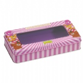 Custom Embossed Rectangle Gift Tin Box With Embossing And Pvc Window