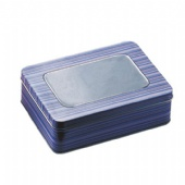 Window Hinged Gift Card Tin storage containers
