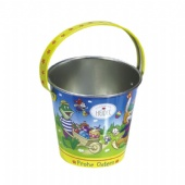 Small Easter Holiday Candy Bucket With Animals Print And Metal Handle