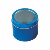 Blue Windowed Round Tin Cans