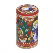 round popcorn tin box with string handle