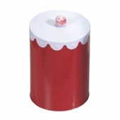 round popcorn tin box with hand shank lid