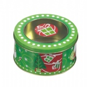 popcorn round window tin box