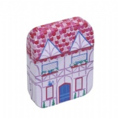 small house shaped mint tin box with hinge
