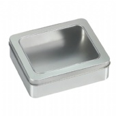 Square cigarette tin box with window lid