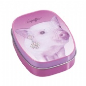 cigarette tin box with piggy shaped embossing